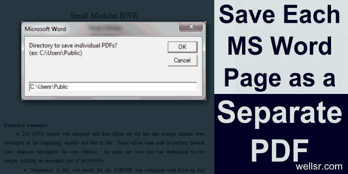 Word VBA Saves Pages as Separate PDFs