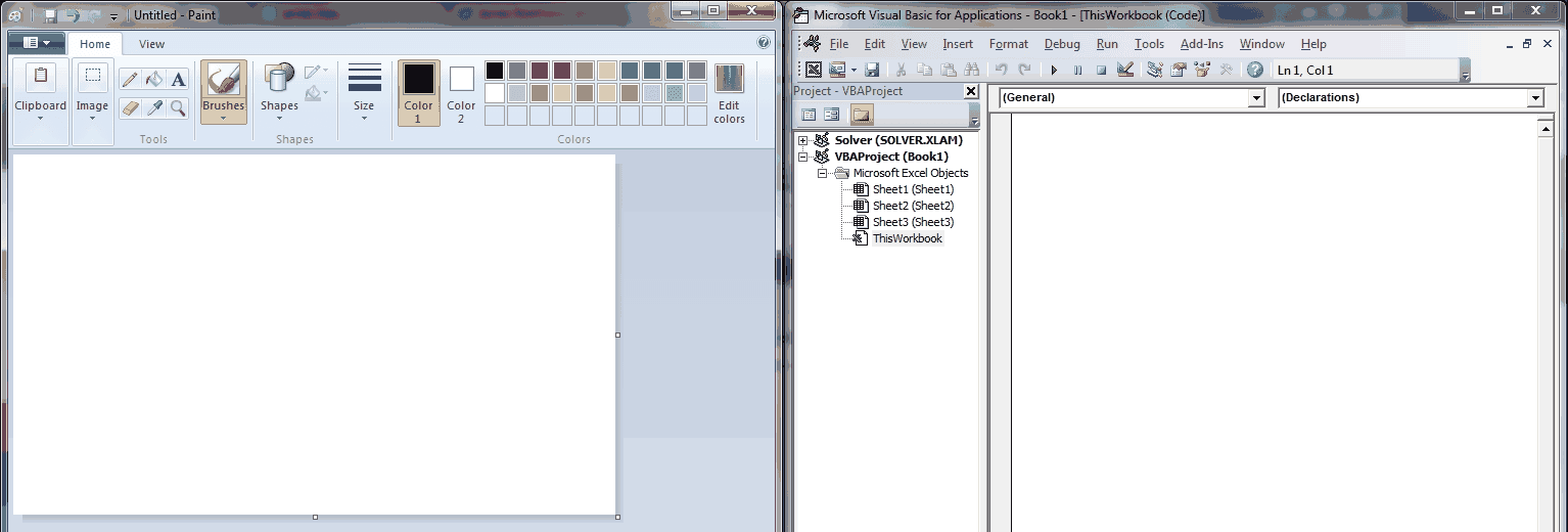 MS Paint and VBA Editor Side by Side