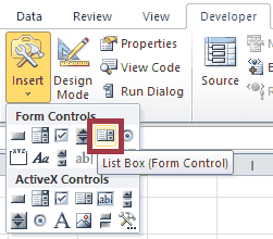 Excel VBA Form Control ListBox