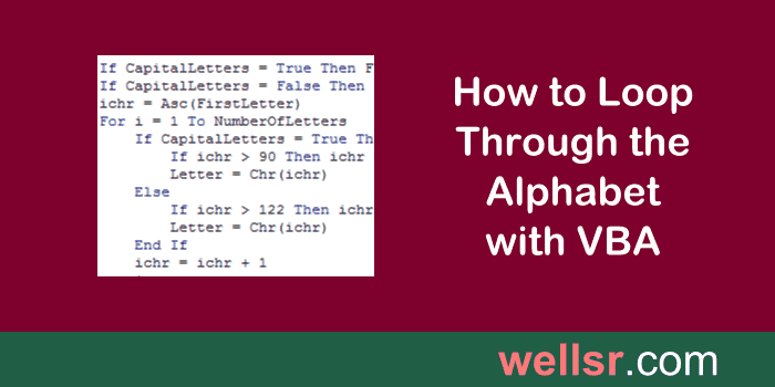 Loop Through the Alphabet with VBA Asc and VBA Chr