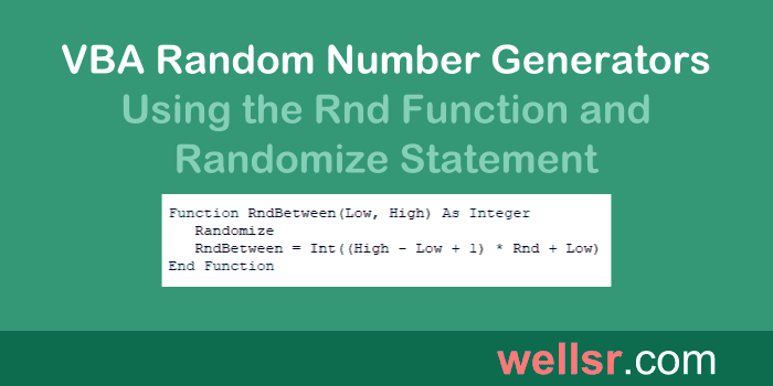 VBA Random Number with Rnd and Randomize