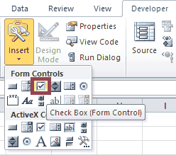 Excel VBA Form Control Checkboxes