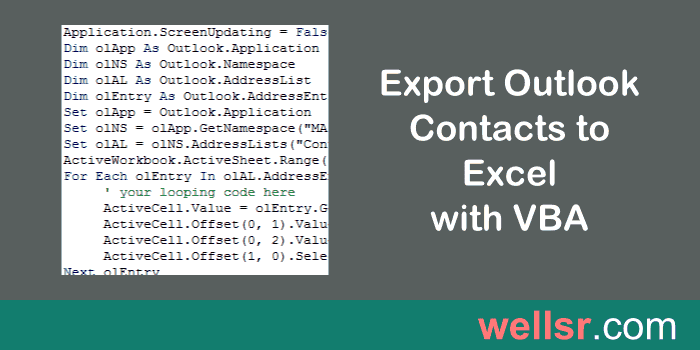 export outlook contacts to excel with vba
