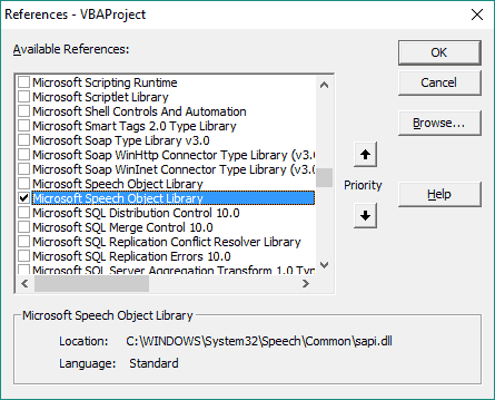 Microsoft Speech Object Library sapi.dll