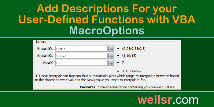 VBA MacroOptions to Add UDF Description