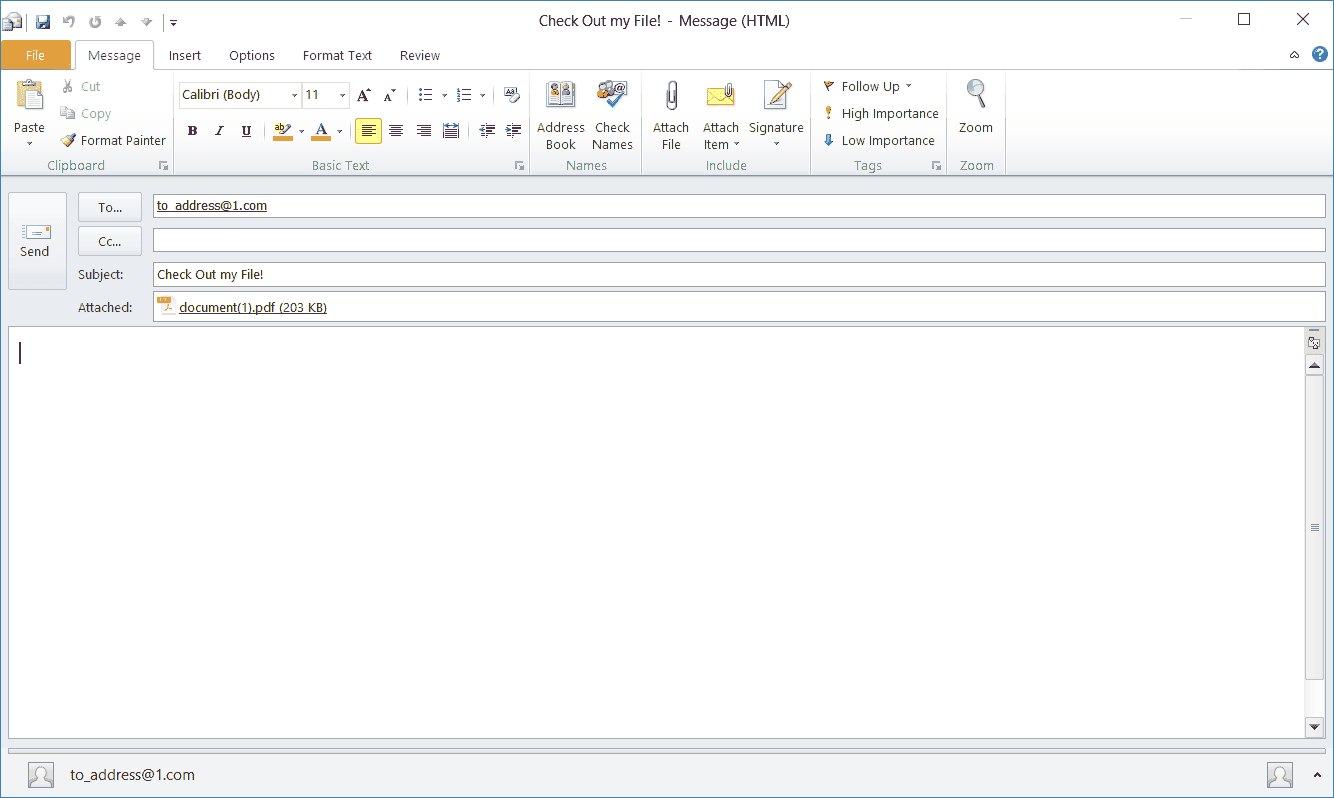Blank Email With Attachment