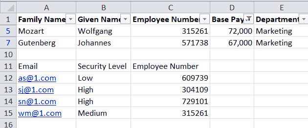Result of Filtering on Base Pay Greater than $45,000, with the second table untouched