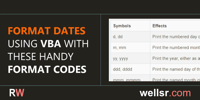 VBA Format Date with these Format Codes - wellsr com