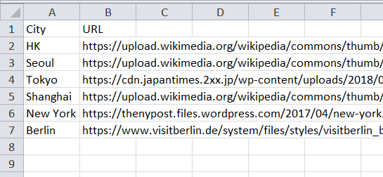 Excel Spreadsheet list of cities and download URLs