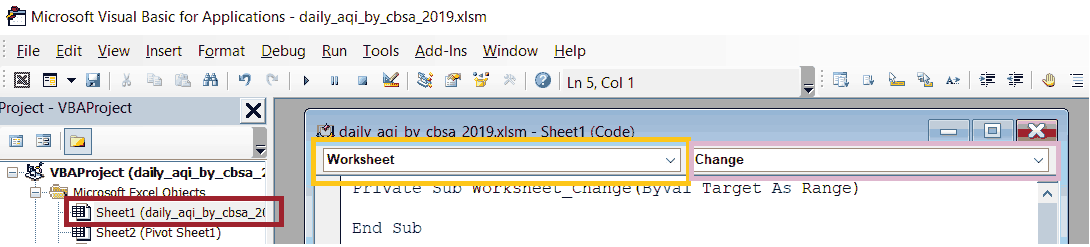 Dedicated Code Module for Worksheet with Highlighting