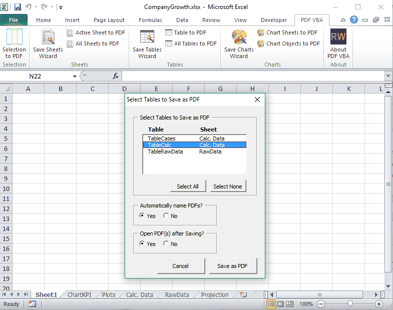 Tables to PDF in PDF VBA